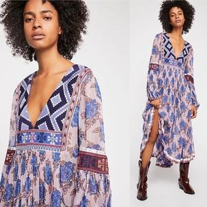 Free People Bold Blooms Embroidered Floral Maxi